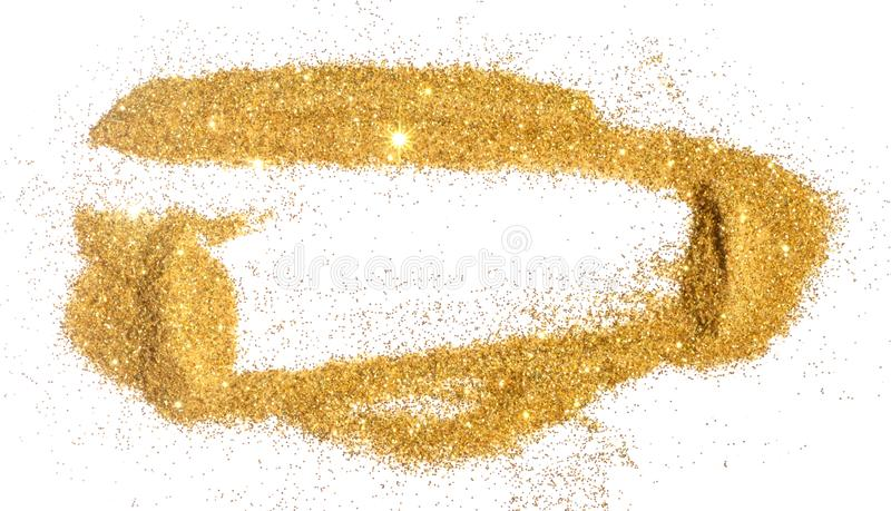 Abstract frame of golden glitter sparkle on white. Textured background with border for your design.  royalty free stock image