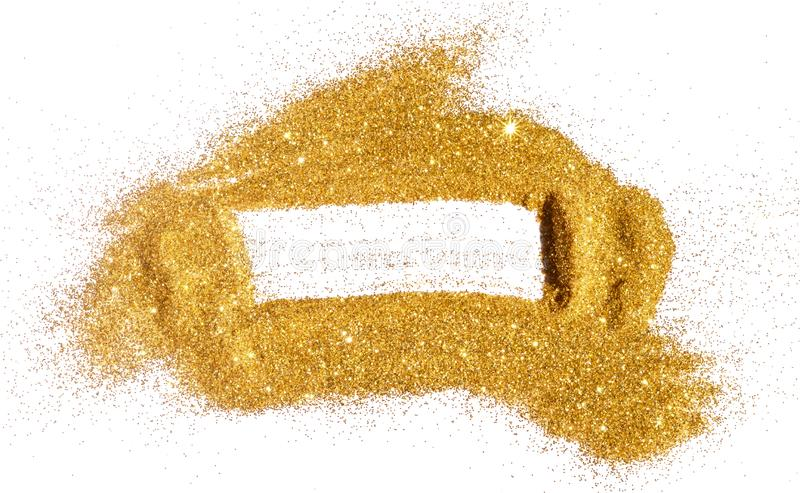 Abstract frame of golden glitter sparkle on white. Textured background with border for your design.  stock images