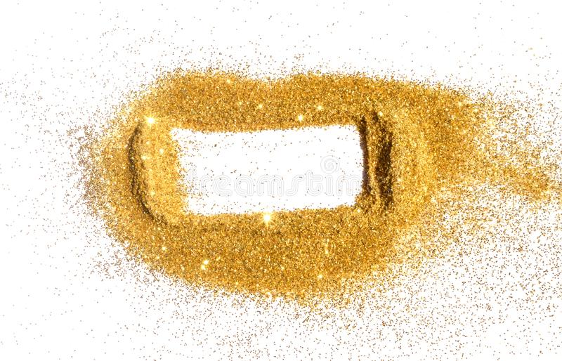 Abstract frame of golden glitter sparkle on white. Textured background with border for your design.  stock photos