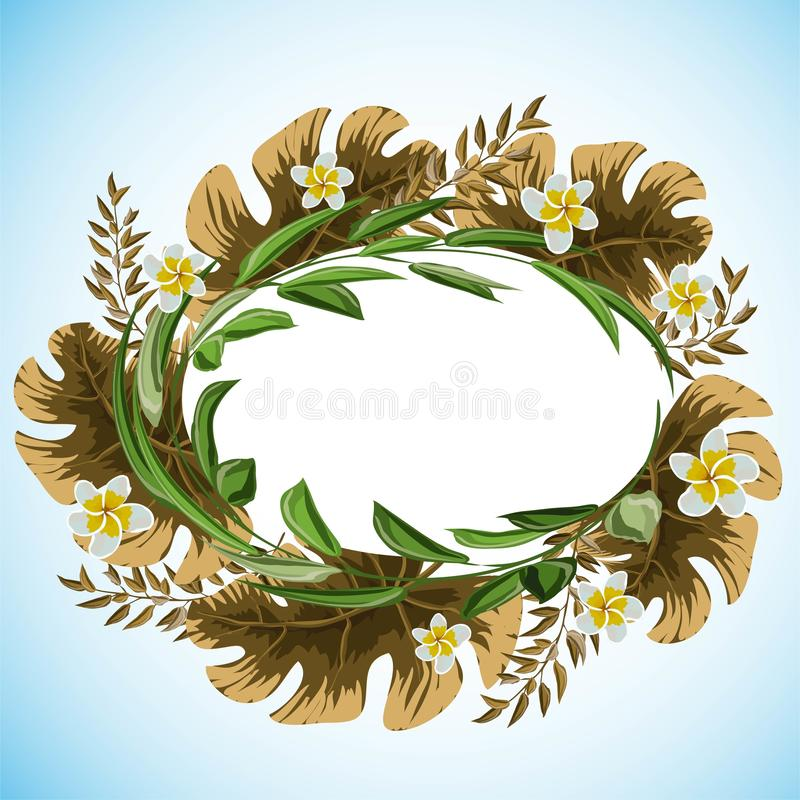 Abstract frame with leaves for print design. Vector floral background. stock illustration