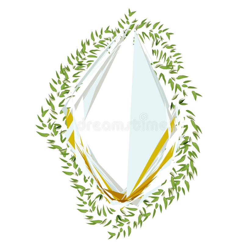 Abstract frame with leaves for print design. Vector floral background. royalty free illustration