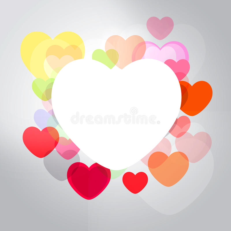 Abstract frame with multicolored hearts royalty free stock photos