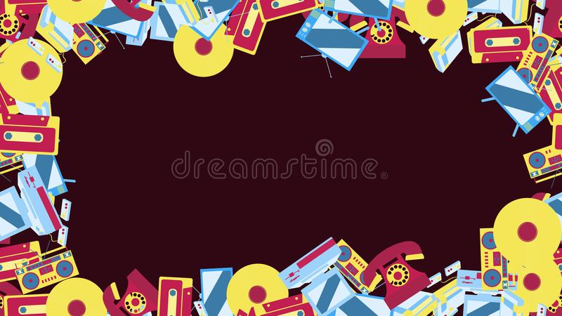 Abstract frame from old vintage retro electronics technology from TV sets cassette game consoles, phones from the 70`s, 80`s, 90`s vector illustration