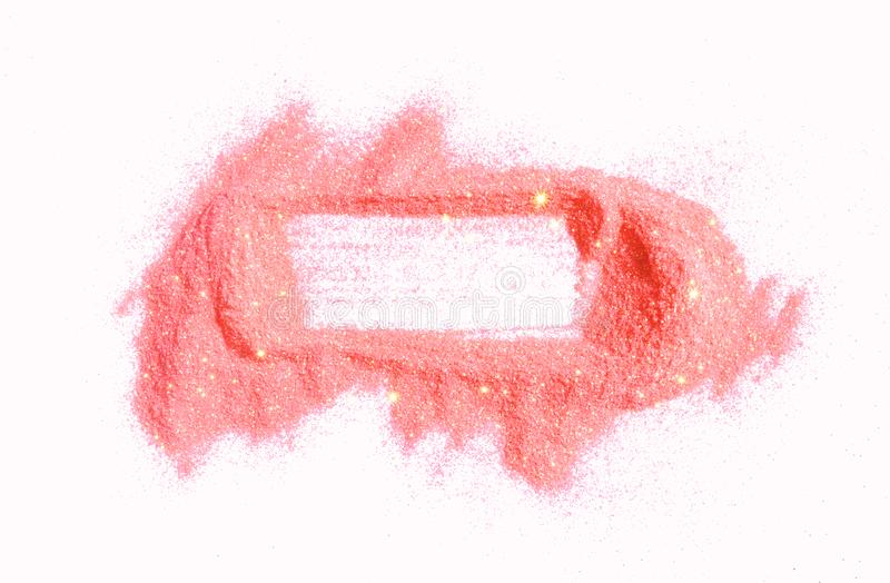 Abstract frame of pink glitter sparkle on white. Textured background with borde. R for your design stock images