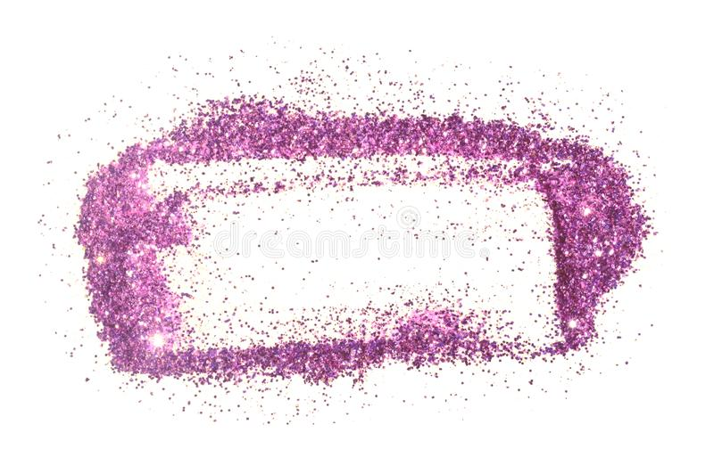 Abstract frame of purple glitter sparkle on white. Textured background with border for your design.  royalty free stock image