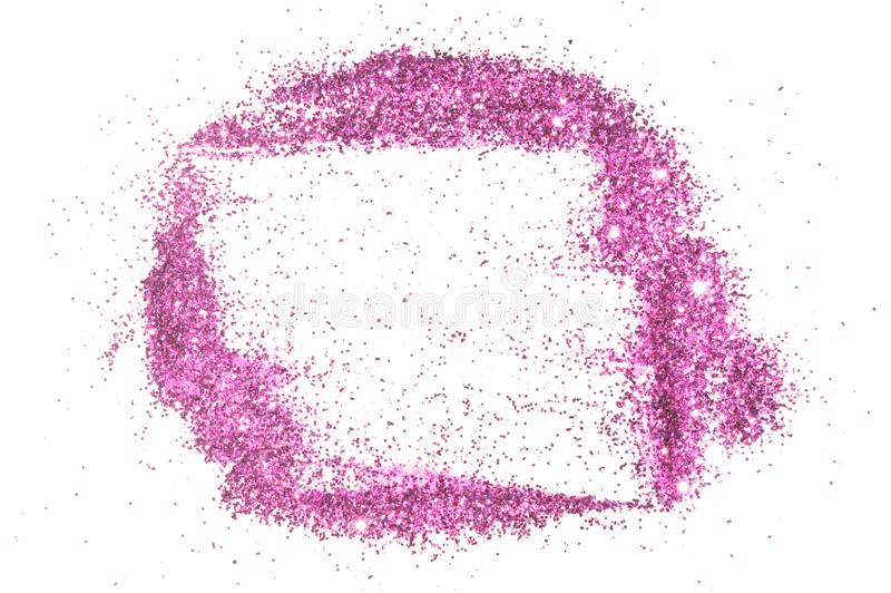 Abstract frame of purple glitter sparkle on white. Textured background with border for your design.  royalty free stock photos