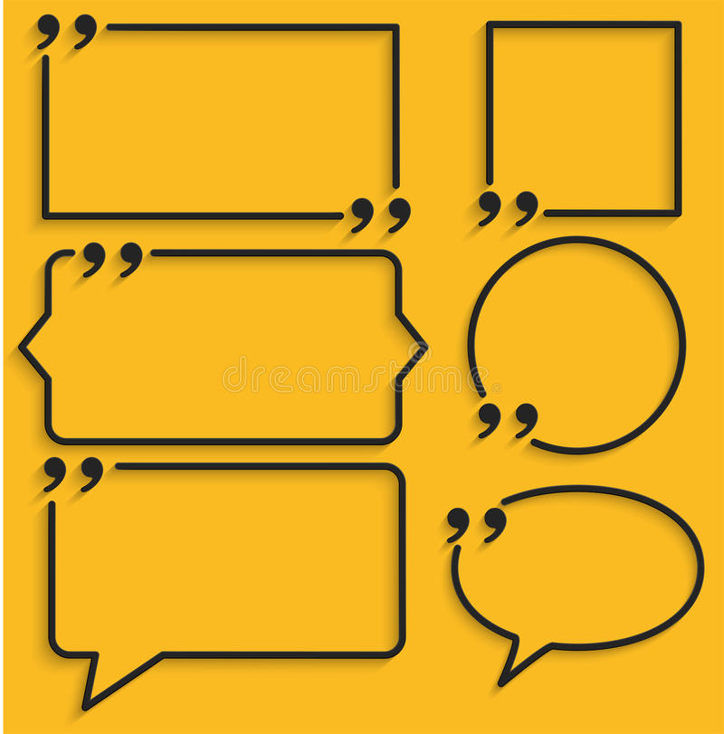 Abstract frame for quotes on yellow background. Illustration vector illustration