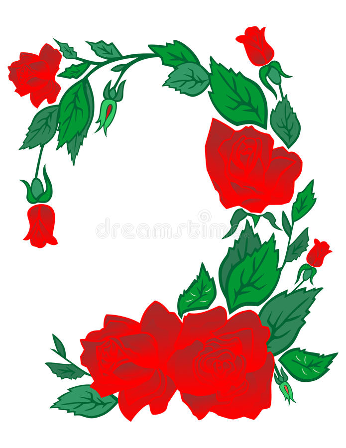 Abstract frame from roses stock illustration