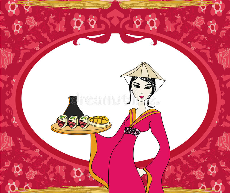 Abstract frame with sushi and geisha royalty free illustration