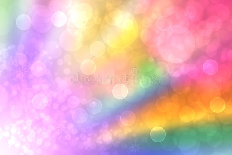 Abstract fresh vivid colorful fantasy rainbow background texture with smooth rays and defocused bokeh lights. Beautiful light royalty free illustration