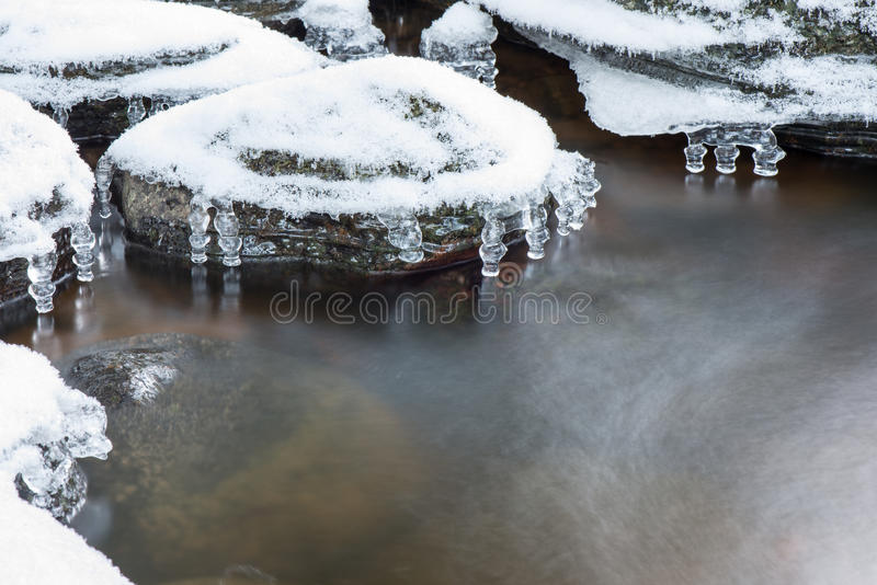 Abstract frozen ice textures in the river. Abstract frozen ice textures in the forest country river in winter royalty free stock image