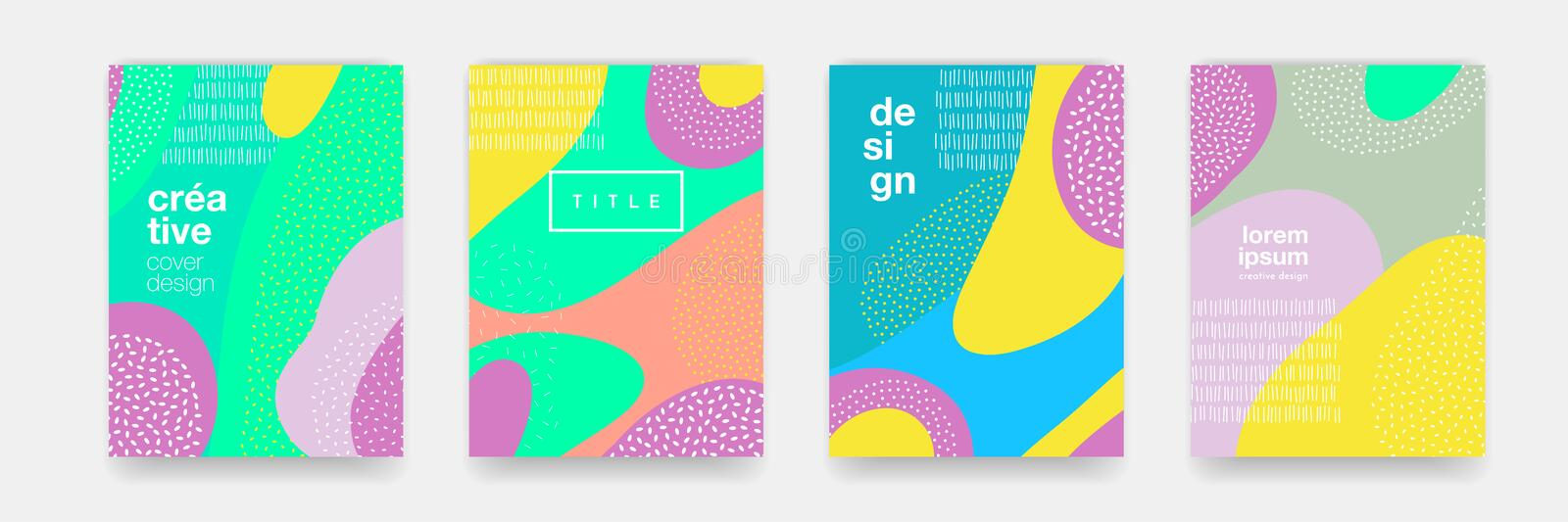 Abstract fun color dot pattern cartoon texture for doodle geometric background. Vector trend shape for brochure cover template des. Ign stock illustration