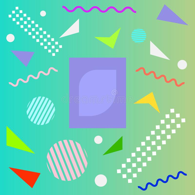 Abstract fun color pattern cartoon texture for doodle geometric background. Vector trend shape for brochure cover template design stock illustration