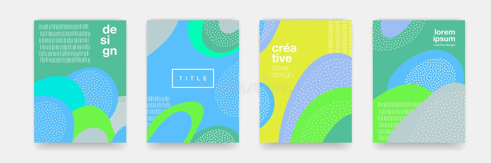 Abstract fun dot pattern cartoon texture for doodle geometric background. Vector green, blue, yellow trend shape for brochure cove vector illustration
