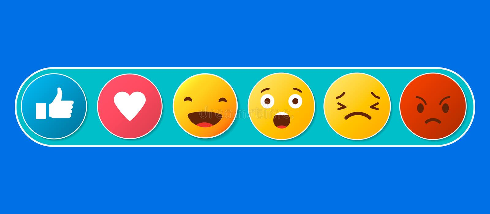 Abstract funny flat style emoji emoticon reactions color icon set. Social smile expression collection royalty free illustration