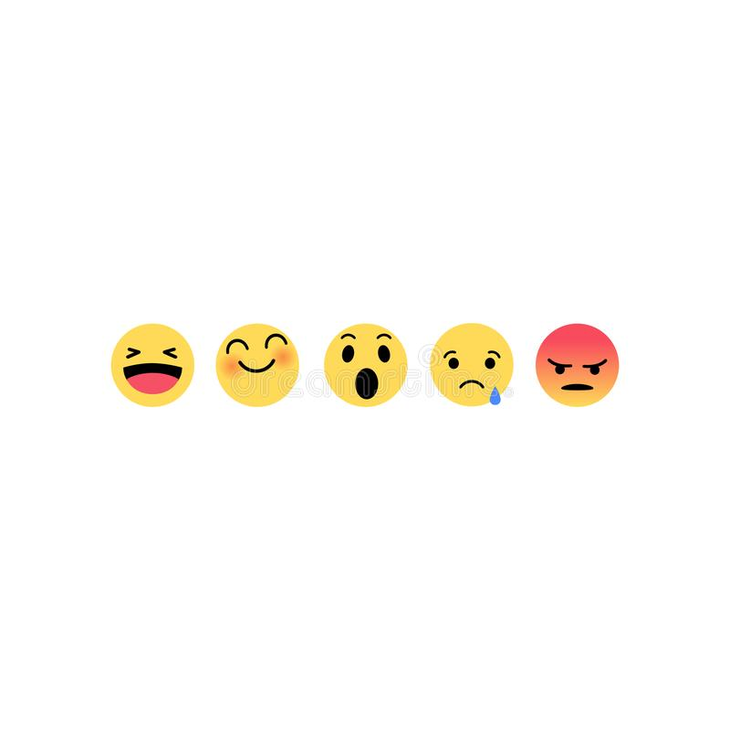 Abstract funny flat style emoji emoticon reactions color icon set. Social smile expression. Collection royalty free illustration