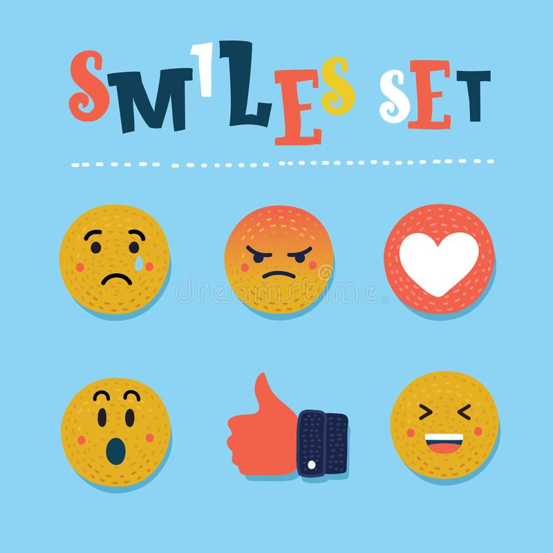 Abstract funny flat style emoji emoticon reactions color icon set. Social smile expression collection vector illustration