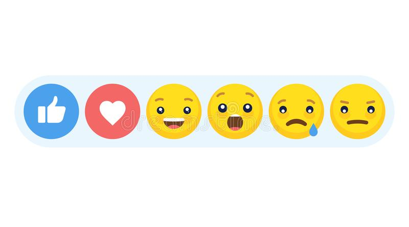 Abstract funny flat style emoji emoticon reactions color icon set. stock photo
