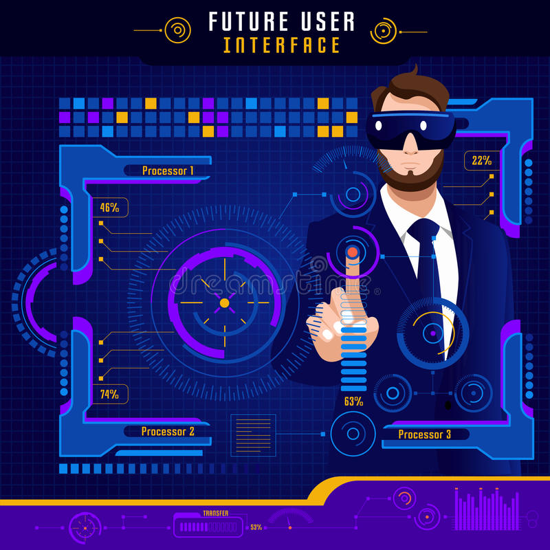 Abstract Future User Interface stock illustration
