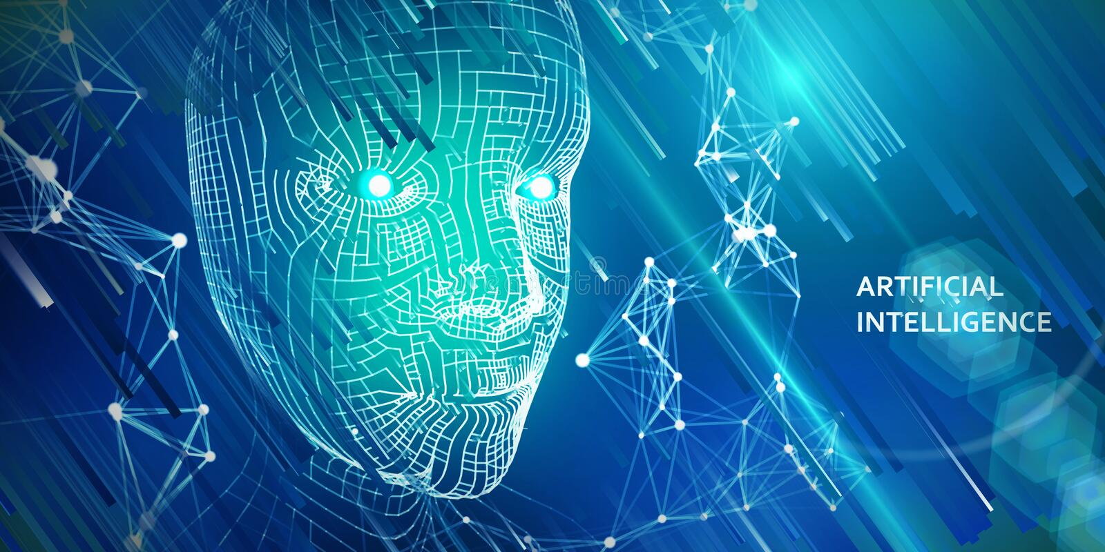 Abstract futuristic background from blue . Robotic wireframe head concept.  Conceptual technology illustration of artificial vector illustration