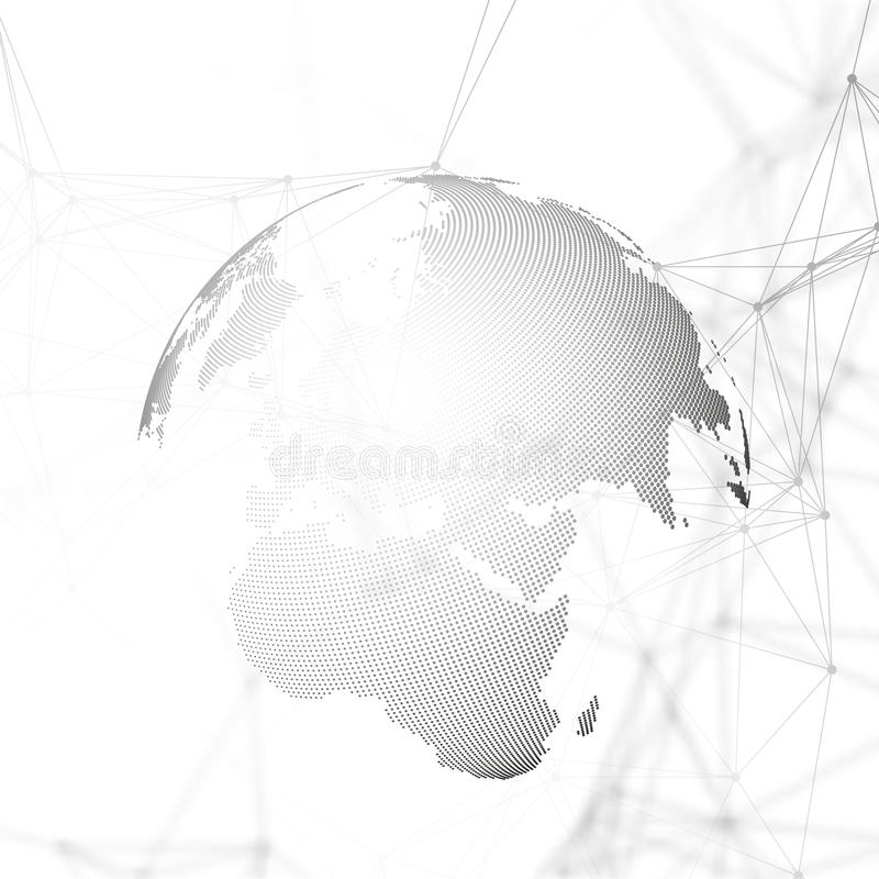 Abstract futuristic background with connecting lines and dots, polygonal linear texture. World globe on white. Global royalty free illustration