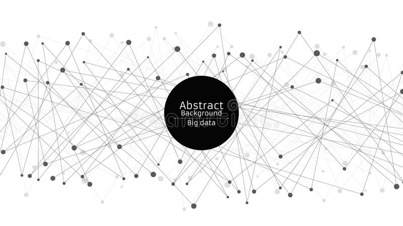Abstract futuristic background. Connection of lines and dots in black. White background. Black web. Hi-tech and sci-fi royalty free illustration