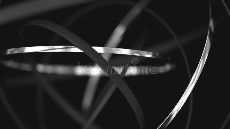 Abstract futuristic background. 3d motion metal rings stock illustration