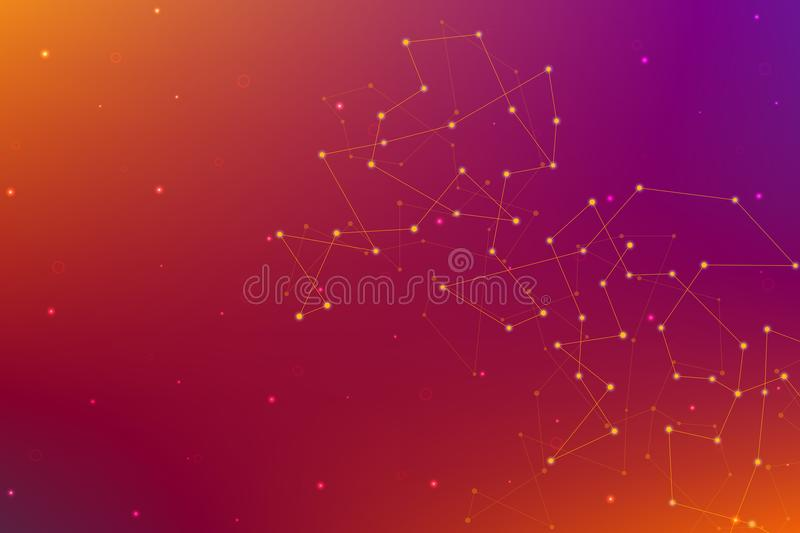 Abstract futuristic background with dots and lines. Molecular particles and atoms, polygonal linear digital texture vector illustration