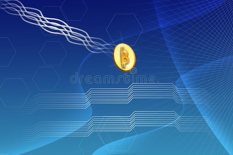 Abstract Futuristic Bitcoin Crypto Currency Blockchain Blue Gradient background. Abstract Bitcoin Crypto Currency Blockchain Blue Gradient background Blue Grid vector illustration
