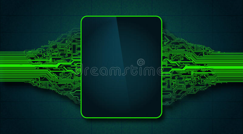Abstract futuristic circuit board with electronic display, hi-tech computer digital technology concept. High-tech computer digital technology background vector illustration