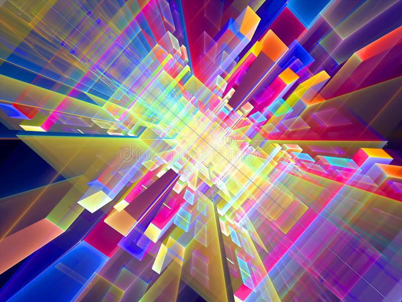 Abstract futuristic colored portal - digitally generated image. Abstract color tech background with perspectivw and glass blocks. Computer-generated 3d stock photos