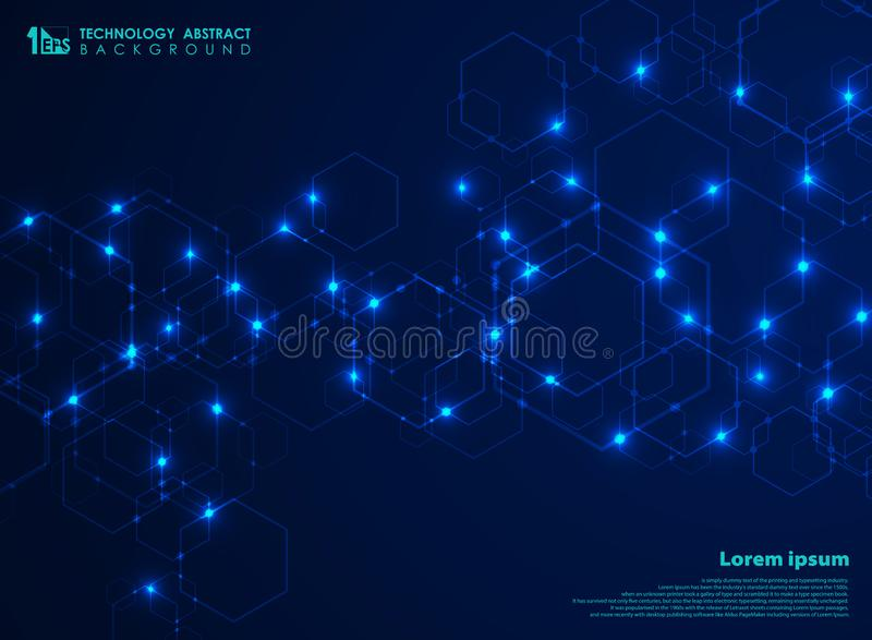 Abstract futuristic complex hexagon shape pattern connection in blue technology background. Design for data connecting for ad, stock illustration