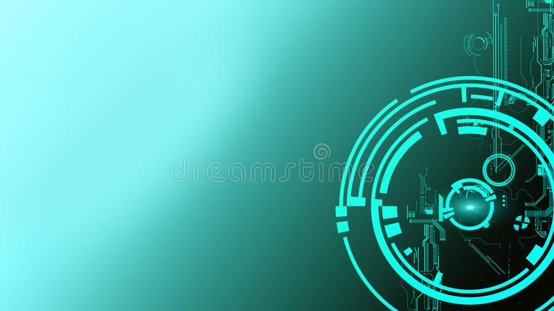 Abstract futuristic cyber technology background. Sci-fi circuit design. Hi tech technology. Cyber punk backdrop. Copy space stock illustration
