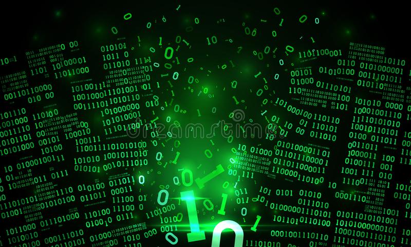 Abstract futuristic cyberspace hacked binary data, matrix background, broken falling binary code, big data neural network. Abstract futuristic cyberspace with a royalty free illustration