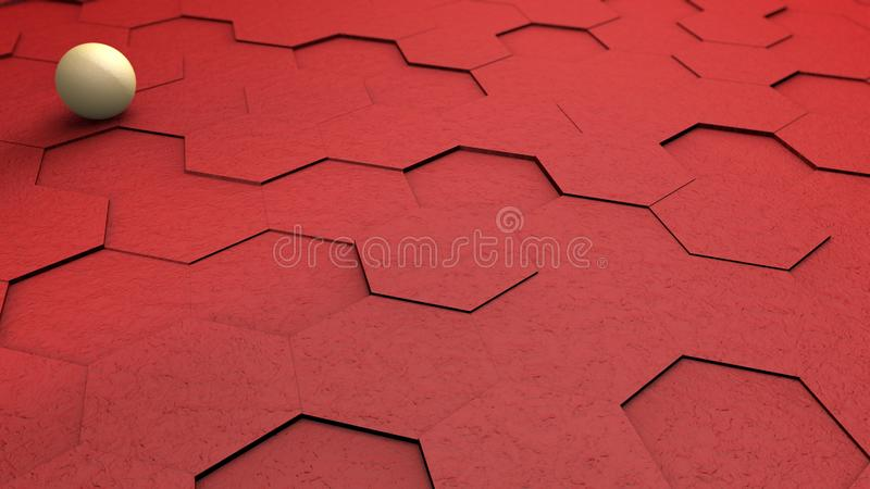 Abstract futuristic 3D illustration of red hexagons with white ball, sphere on the background. Abstract geometric background, 3D royalty free illustration