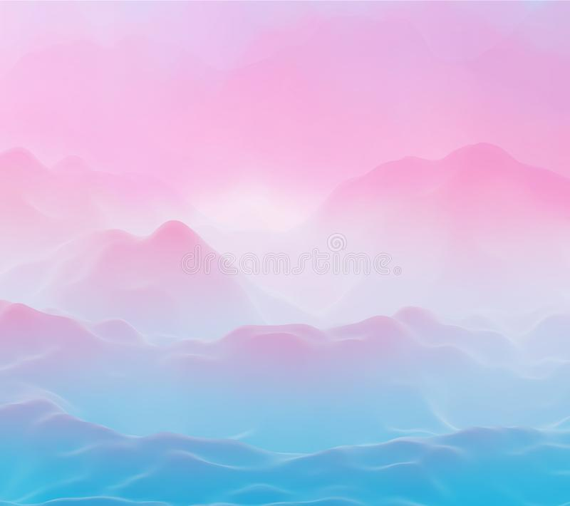 Abstract futuristic 3D mountains landscape on alien planet. stock illustration