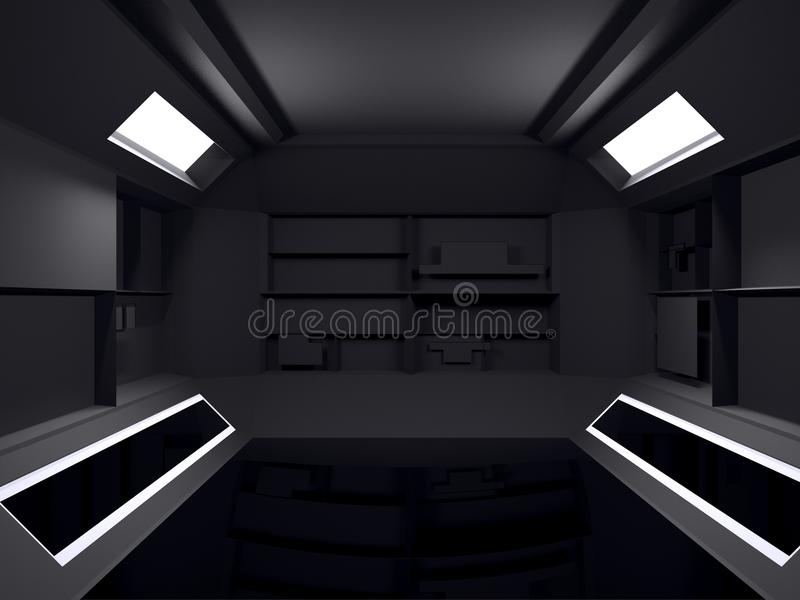 Abstract Futuristic dark room interior design. 3D Rendering. Fut vector illustration