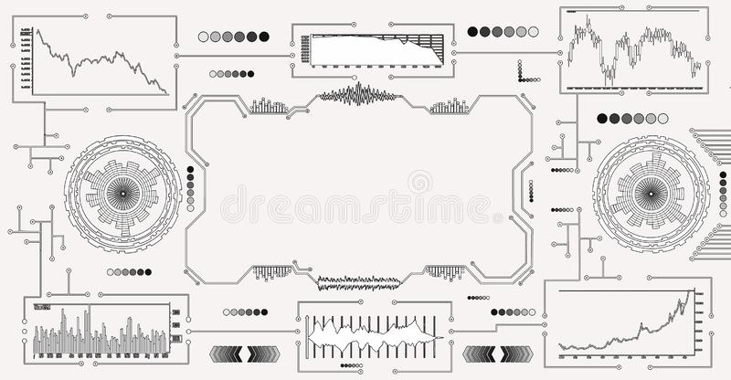 Abstract futuristic dashboard with currency charts on a white background.  stock illustration
