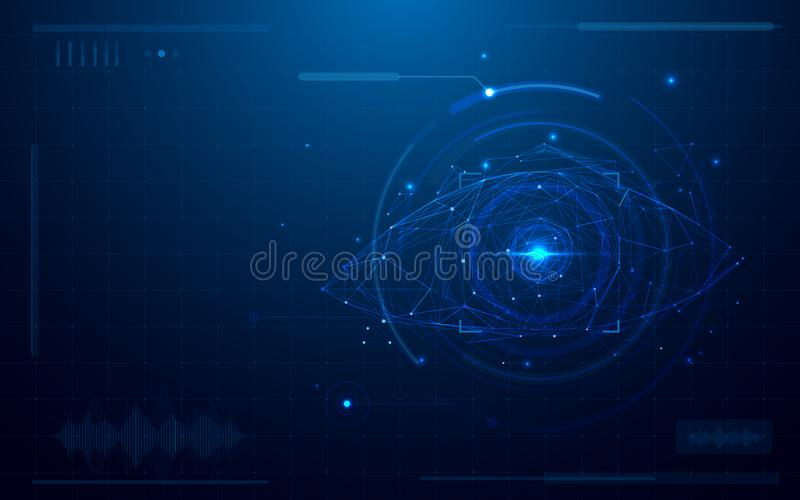 Abstract futuristic digital eye scanner. concept of technology security on blue background. Space for your text vector illustration