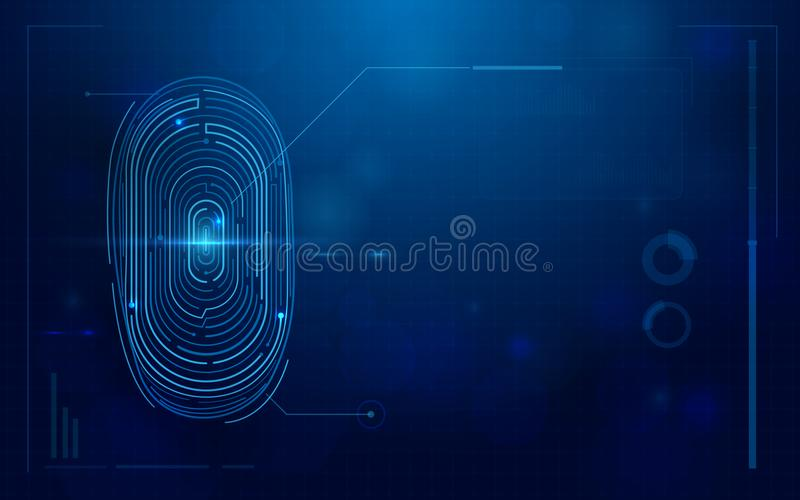 Abstract futuristic digital fingerprint scanner. concept of technology security. Space for your text royalty free illustration