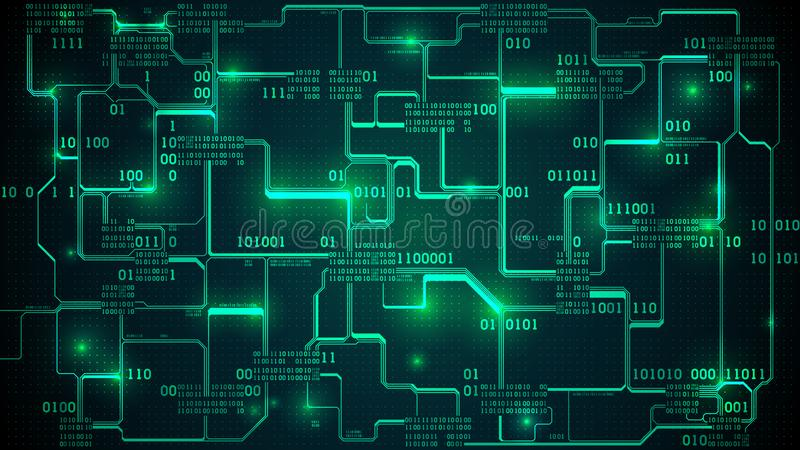 Abstract futuristic electronic circuit board with binary code, neural network and big data - an element of artificial intelligence. Matrix background with royalty free illustration