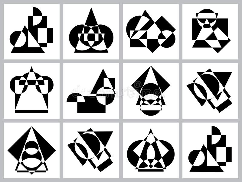 Abstract futuristic geometric figures, shapes of symmetry and asymmetry. Set of black and white pattern backgrounds royalty free illustration
