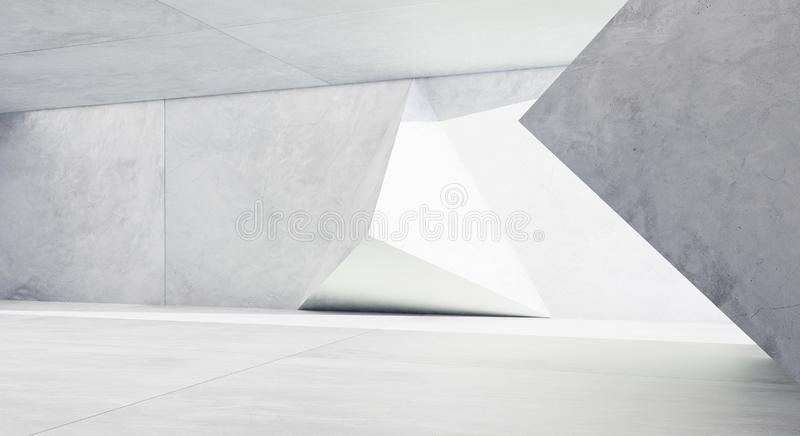 Abstract futuristic geometric pattern concrete design interior. 3D rendering royalty free illustration