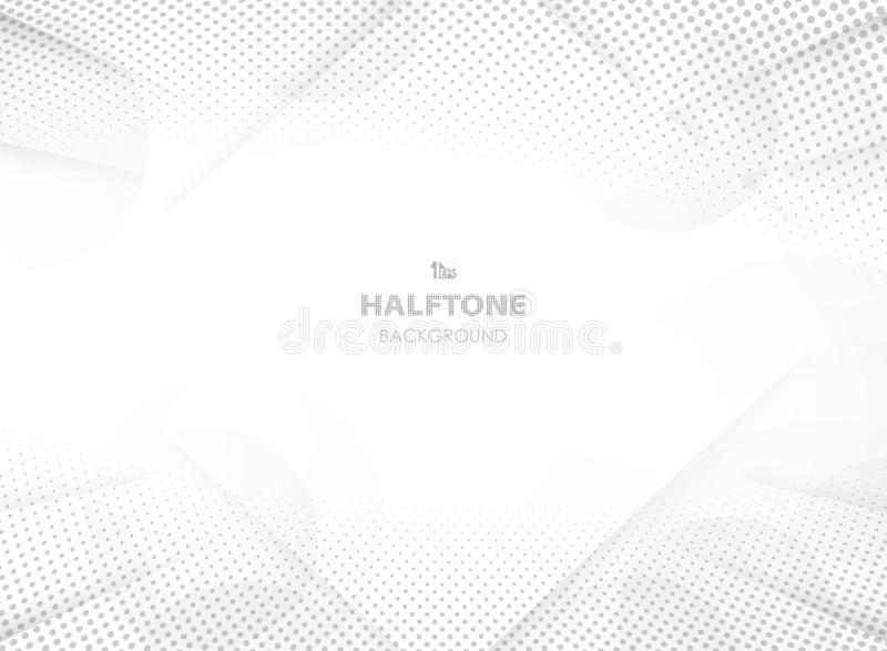 Abstract futuristic gradient grey color with halftone decoration and circle tech background. Presenting on white, you can use for ad, poster, artwork stock illustration
