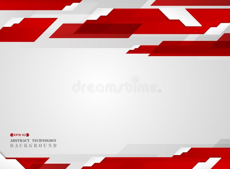 Abstract of futuristic gradient red stripe line pattern with white edge shadow background. vector illustration