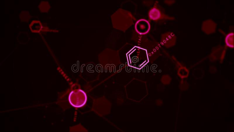 Abstract futuristic hexagon dot circle and line network structure. royalty free stock images