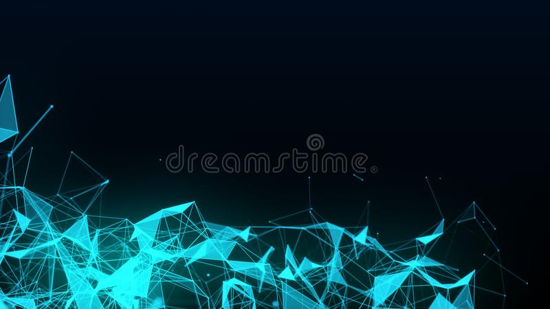 Abstract futuristic illustration of polygonal surface with connecting dots stock illustration