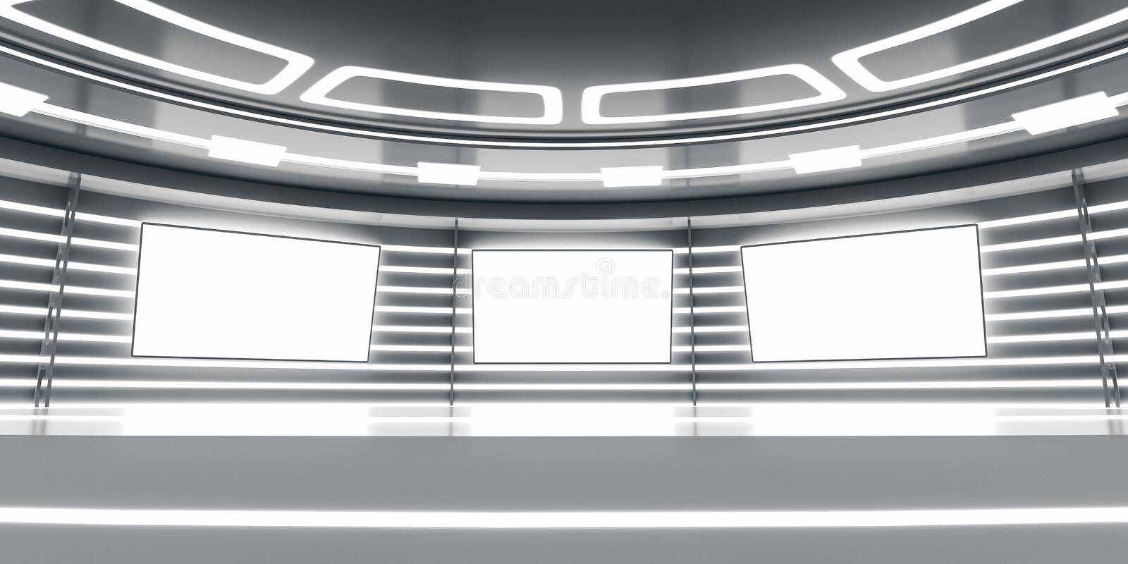 Abstract futuristic interior with glowing panels vector illustration