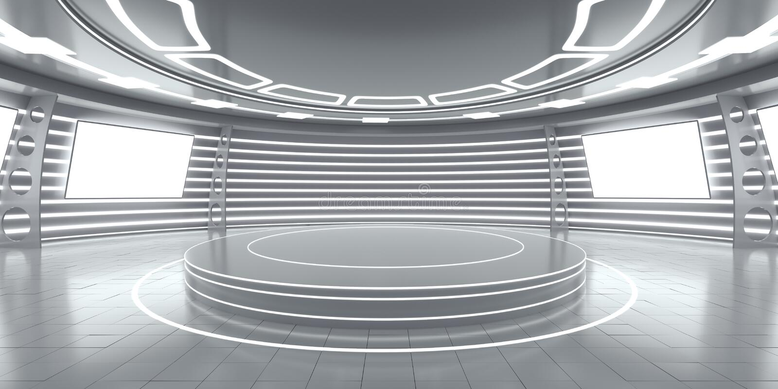 Abstract futuristic interior with glowing panels royalty free stock photo