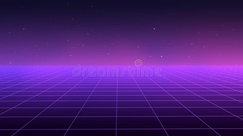 Abstract futuristic landscape 1980s style. Vector illustration 80s party background . 80s Retro Sci-Fi background. stock illustration